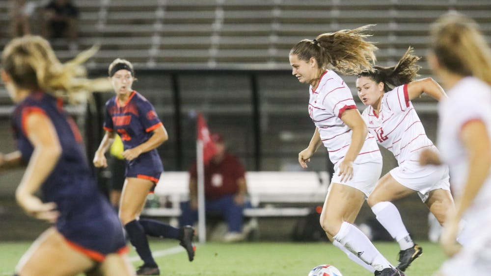 Sophomore forward Jen Blitchok dribbles the ball Aug. 26, 2021, in Bill Armstorng Stadium. The Hoosiers defeated the University of Tennessee at Martin 1-0.