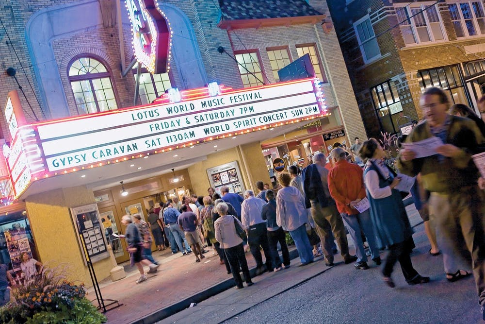 <p>Patrons wait to hear the Anat Cohen Quartet Sept. 30, 2012, at the Buskirk-Chumley Theater during the Lotus World Music &amp; Arts festival. The 28th annual Lotus Festival will be held from Sept. 23-26, 2021.</p>