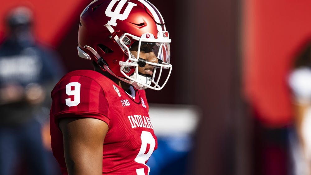 Redshirt sophomore quarterback Michael Penix Jr. looks at the field Oct. 24 during the game against then-No. 8 Penn State in Memorial Stadium. No. 17 IU will play Rutgers at 3:30 p.m. Saturday in what is only its second game as a ranked team since 1993.