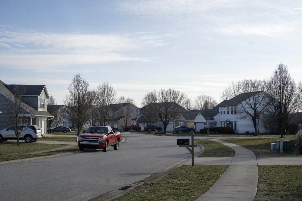 <p>Houses are seen Jan. 26 on South Glasgow Circle in Bloomington. Bloomington rents are too high and wages are too low, writes columnist Kyle Linder.</p>