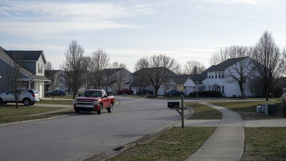 Houses are seen Jan. 26 on South Glasgow Circle in Bloomington. Bloomington rents are too high and wages are too low, writes columnist Kyle Linder.