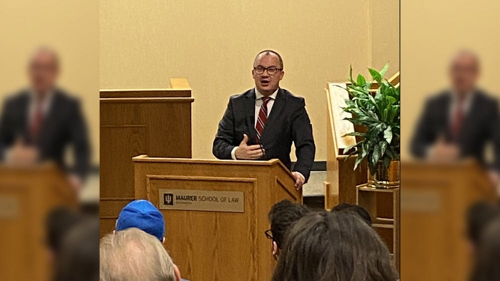 Polish Commissioner for Human Rights Adam Bodnar speaks Feb. 12 at the Maurer School of Law. Bodnar spoke about authoritarian changes in Poland's government.