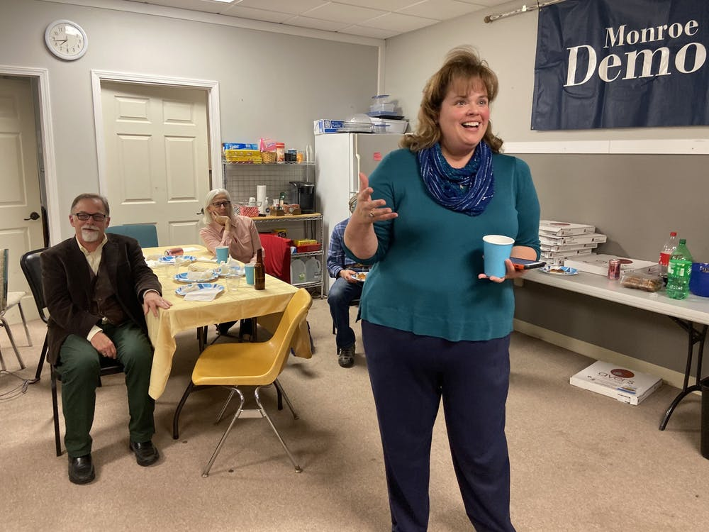 Sue Sgambelluri speaks about her victory Tuesday night in the city council District 2 election at the Monroe County Democrats watch party. Sgambelluri was the only one to face a republican candidate.