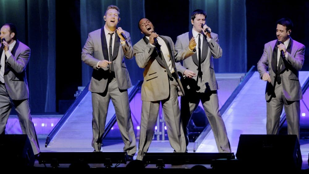 Straight No Chaser performs at the IU Auditorium in 2012. Straight No Chaser is a professional a cappella group consisting of 10 IU alumni, and the group will return to the IU Auditorium during the next academic year.