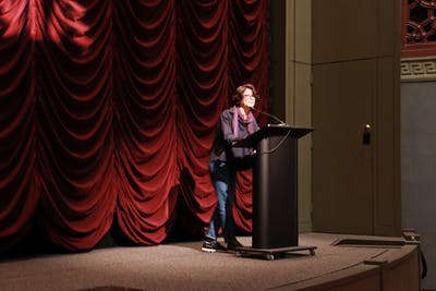 "Director Shelly Silver speaks about her films ""A Strange New Beauty"" and ""What I'm Looking For"" on Oct. 18 in the IU Auditorium."
