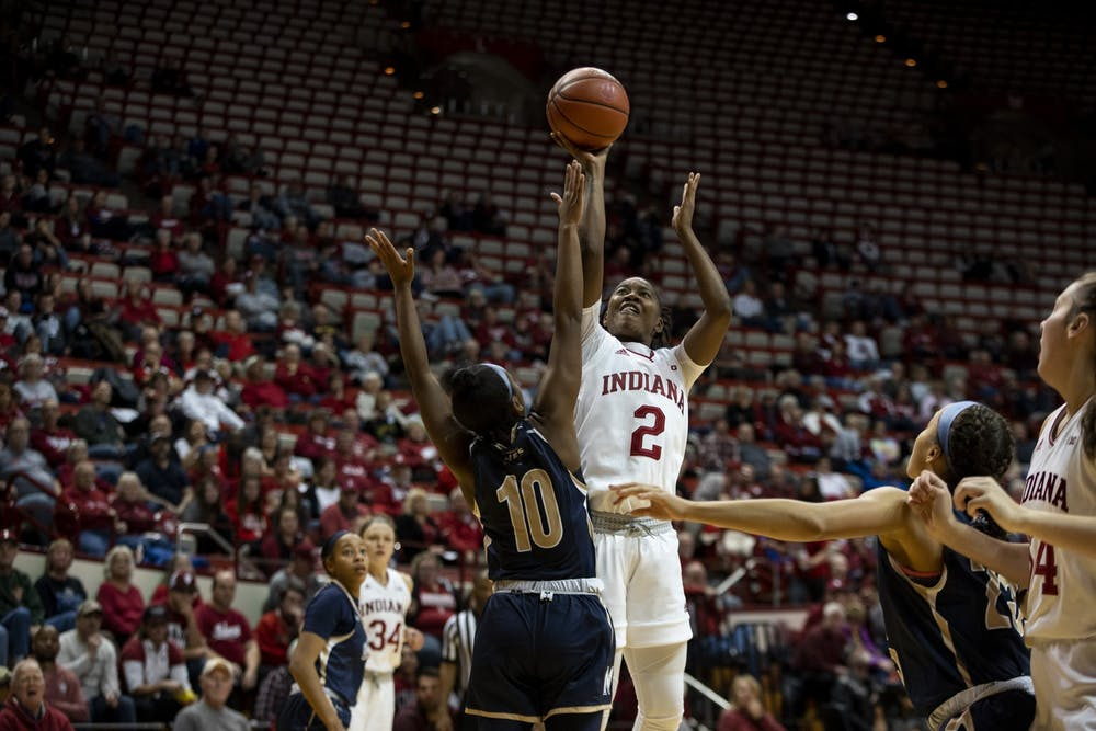 <p>Junior Keyanna Warthen attempts a shot Nov. 7 at Simon Skjodt Assembly Hall. IU beat Mount St. Mary's University during its season opener, 75-52.</p>