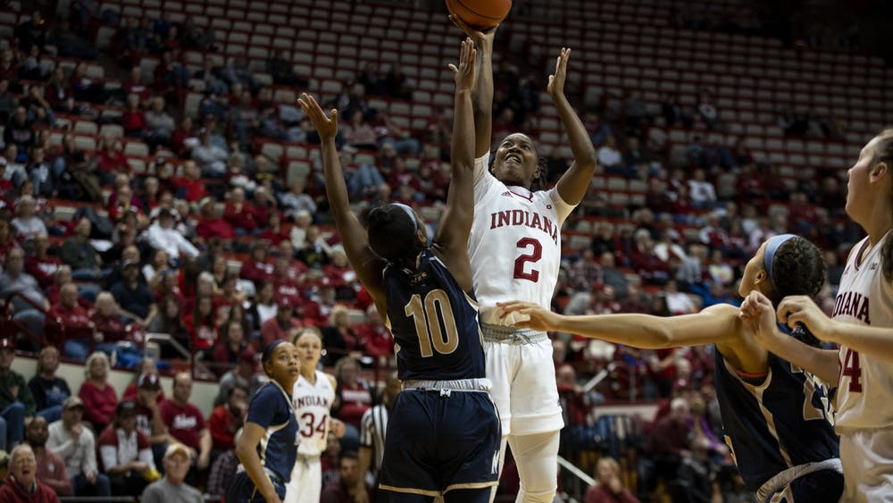 Junior Keyanna Warthen attempts a shot Nov. 7 at Simon Skjodt Assembly Hall. IU beat Mount St. Mary's University during its season opener, 75-52.