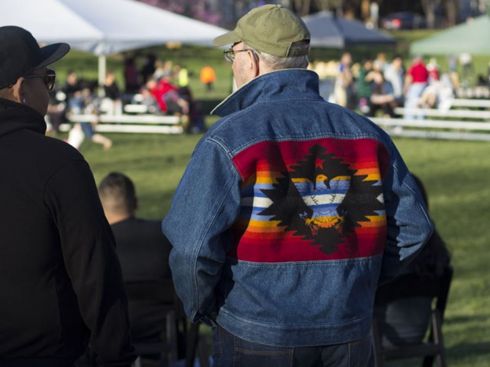 The public gathered in Dunn Meadow all day long Saturday at the First Nations Traditional Powwow.