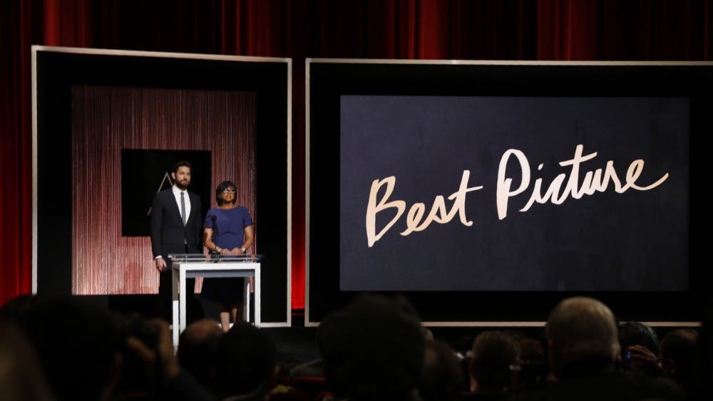 Actor John Krasinski and Academy President Cheryl Boone Isaacs announce Best Motion Picture of the Year at the announcement of the 88th Academy Awards nominations during a live news conference on Jan. 14, 2016 at the Academy's Samuel Goldwyn Theater in Beverly Hills, Calif. (Al Seib/Los Angeles Times/TNS)
