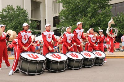 IU Marching Hundred bass drummers play music before a football game against University of Connecticut Sept. 21, 2019 near Assembly Hall. Newlyappointed director of athletic bands Eric Smedley is an alumnus of the Marching Hundred.