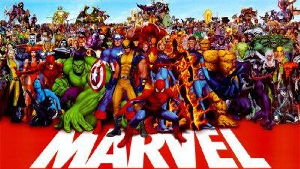 A poster shows many Marvel characters.