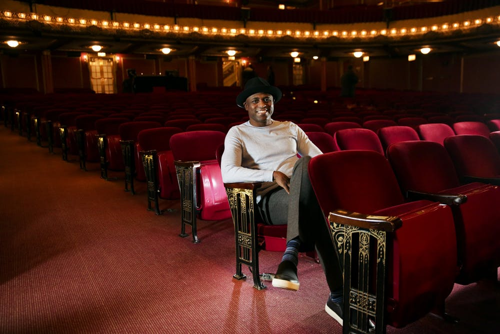 <p>Comedian Wayne Brady relaxes before a performance Jan. 31, 2017, in Chicago. Brady will perform live improv from his studio in a livestream event April 21 by IU Auditorium. </p>