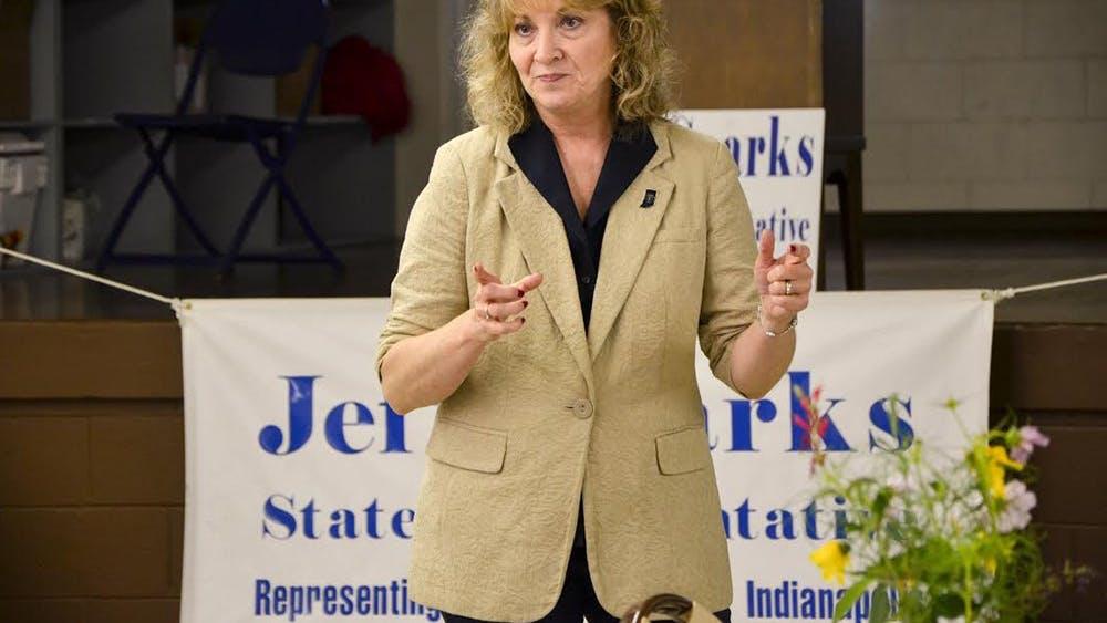 Indiana Superintendent of Public Instruction Glenda Ritz speaks Monday at the Monroe County Fairgrounds.
