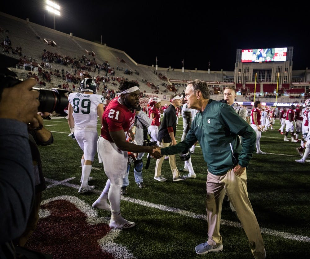 Freshman Stevie Scott Shakes Hands With Michigan State Head Coach Mark Dantonio After Iu Lost   To Michigan State At Memorial Stadium On Saturday