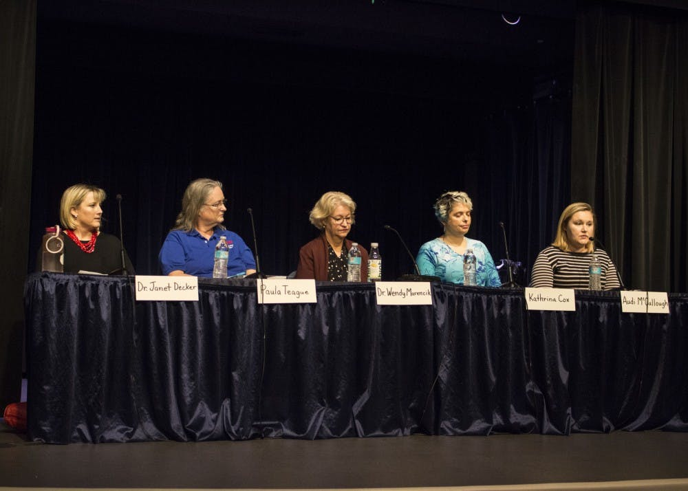 <p>Mother Audi McCullough shares her story about her son, who has a disability, at a panel discussion on Thursday evening at the Monroe County Public Library. Panelists came together to discuss special education in the current public school system.&nbsp;</p>