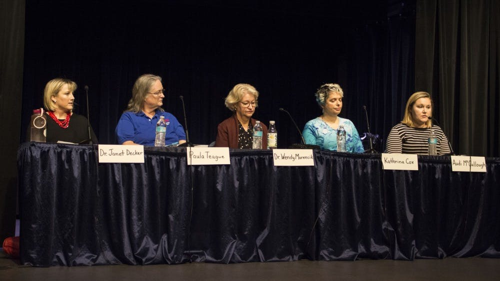 Mother Audi McCullough shares her story about her son, who has a disability, at a panel discussion on Thursday evening at the Monroe County Public Library. Panelists came together to discuss special education in the current public school system.