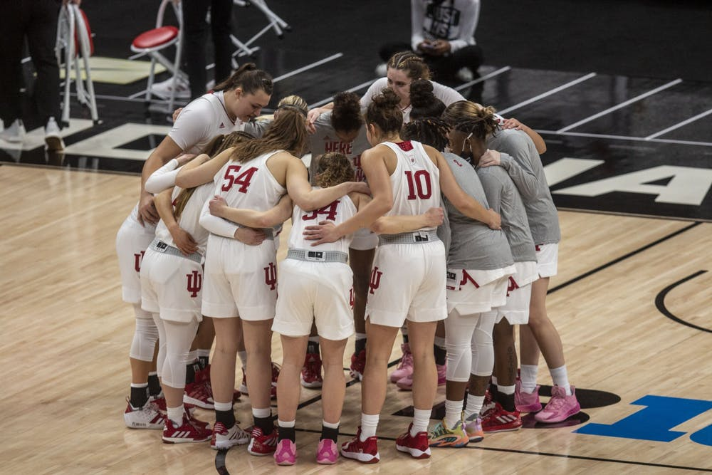 <p>The IU women&#x27;s basketball team huddles before the start of the game March 11 in the quarterfinals of the Big Ten women&#x27;s basketball tournament at Bankers Life Fieldhouse in Indianapolis. The Hoosiers will play Virgina Commonwealth University on Monday in the first round of the NCAA Tournament in San Antonio. </p>
