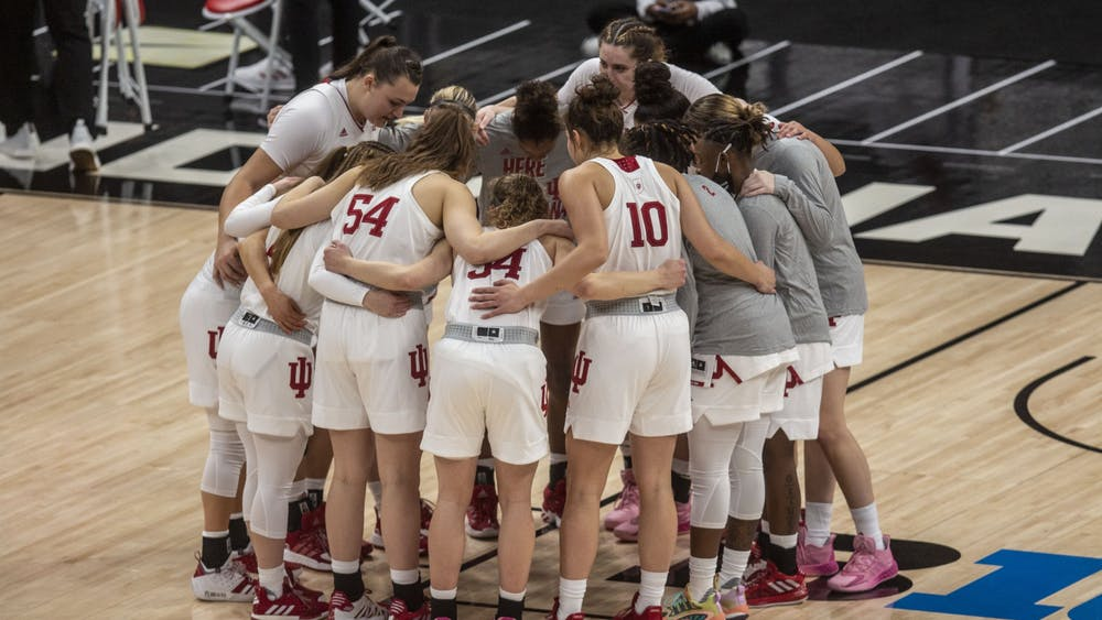 The IU women's basketball team huddles before the start of the game March 11 in the quarterfinals of the Big Ten women's basketball tournament at Bankers Life Fieldhouse in Indianapolis. The Hoosiers will play Virgina Commonwealth University on Monday in the first round of the NCAA Tournament in San Antonio.