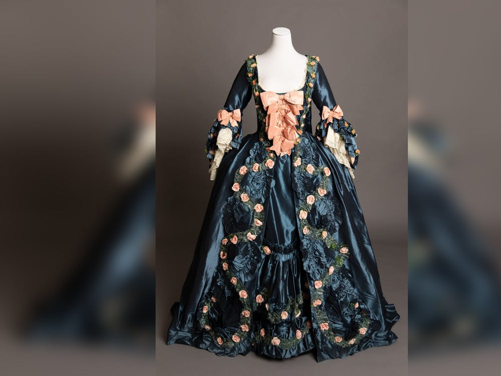 """A costume designed by Glenn Close from the film """"Dangerous Liasons"""" appears. """"Art of the Character,"""" an exhibition displaying Close's costume work, will begin May 6 at the Sidney and Lois Eskenazi Museum of Art."""