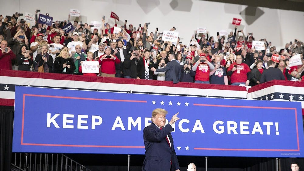 President Donald Trump leads a rally Jan. 28 at the Wildwood Convention Center in Wildwood, New Jersey.