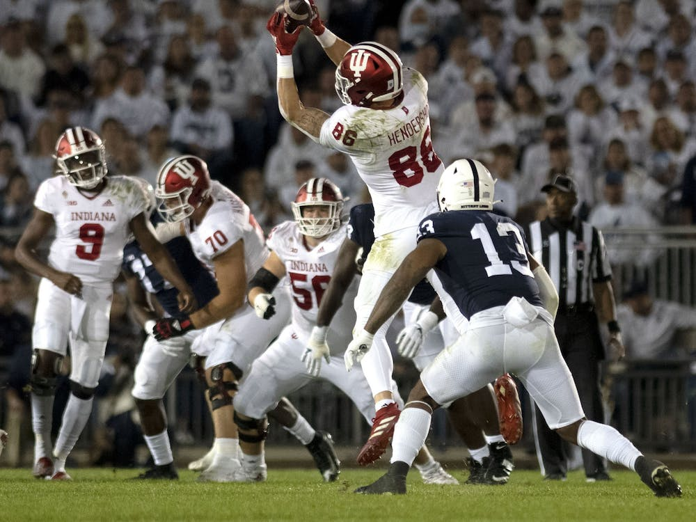 Redshirt senior tight end Peyton Hendershot catches a pass during a game against Penn State on Oct. 2, 2021, at Beaver Stadium. Indiana was shut out for the first time since 2000.