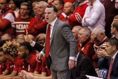 IU Coach Archie Miller yells at the team during IU's game against Duke on Nov. 27 in the Cameron Indoor Stadium in Durham, North Carolina.