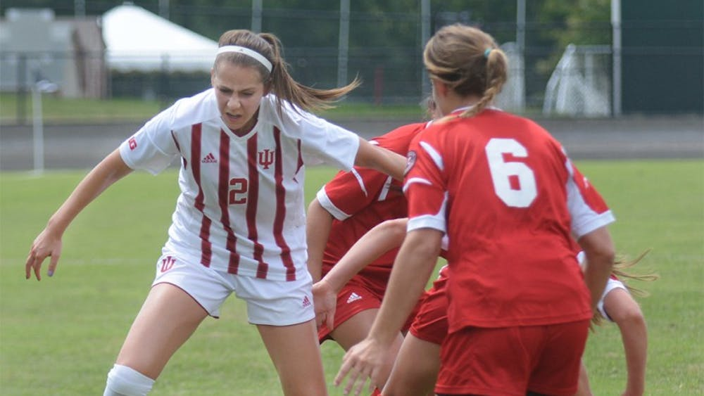 Senior midfielder Jessie Bujouves plays against SIUE Cougars at Bill Armstrong stadium on Sunday. IU tied the game with SIUE Cougars, 0-0.