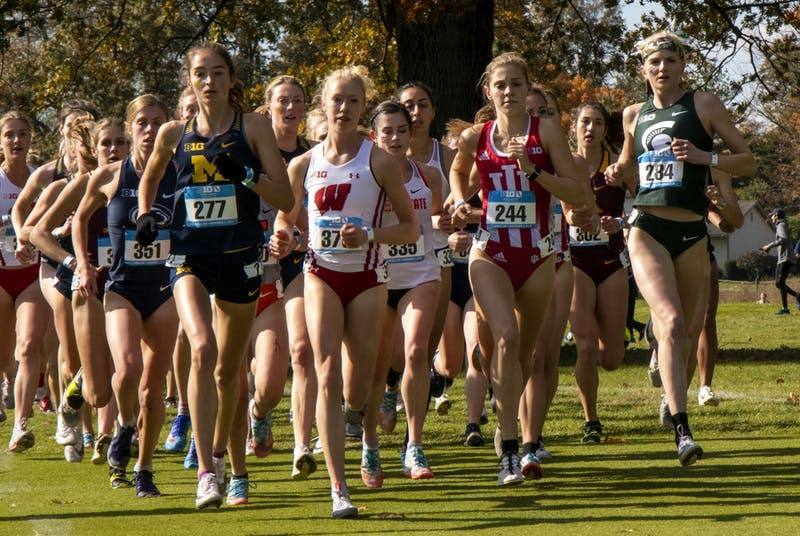 IU sophomore Bailey Hertenstein races ahead Nov. 3 in the Big Ten Championship at Ohio State University Golf Club. The IU women's cross-country team finished sixth Friday at the Great Lakes Regional.