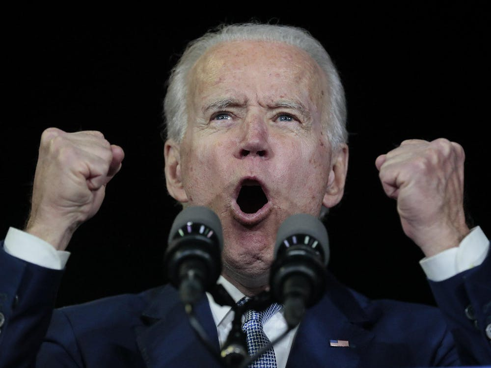 Democratic presidential candidate Joe Biden reacts to Super Tuesday voting results March 3 in the Baldwin Hills Recreation Center in Los Angeles.