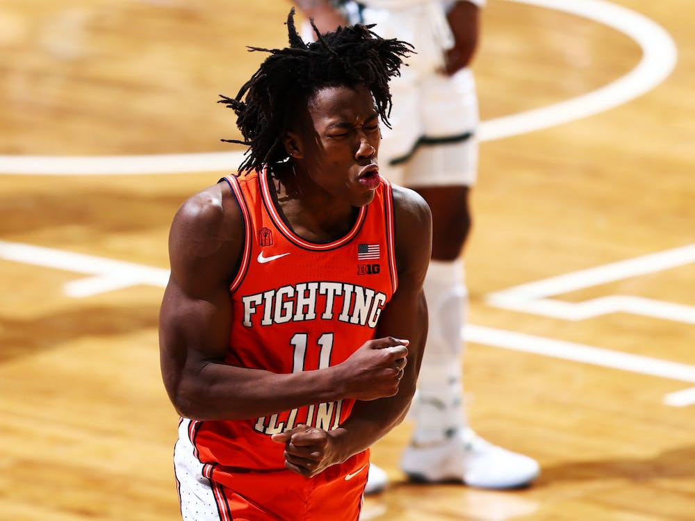 Ayo Dosunmu reacts to an official's call in the second half against Michigan State on Feb. 23, 2021, at Breslin Center in East Lansing, Michigan. The Big Ten has not had a national champion since 2000, despite participating in seven national championship games in that time.