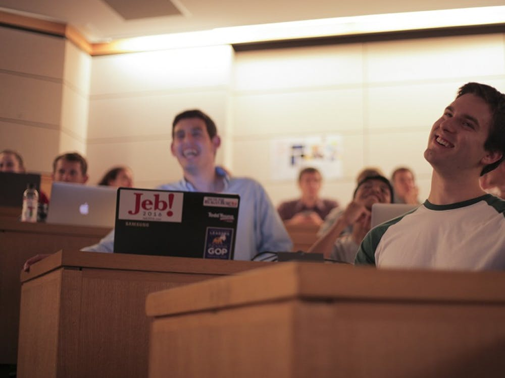 The IU Campus Republicans watch the first 2016 presidential debate at the Kelley School of Business.  The campus republicans have not endorsed the republican nominee, Donald Trump.