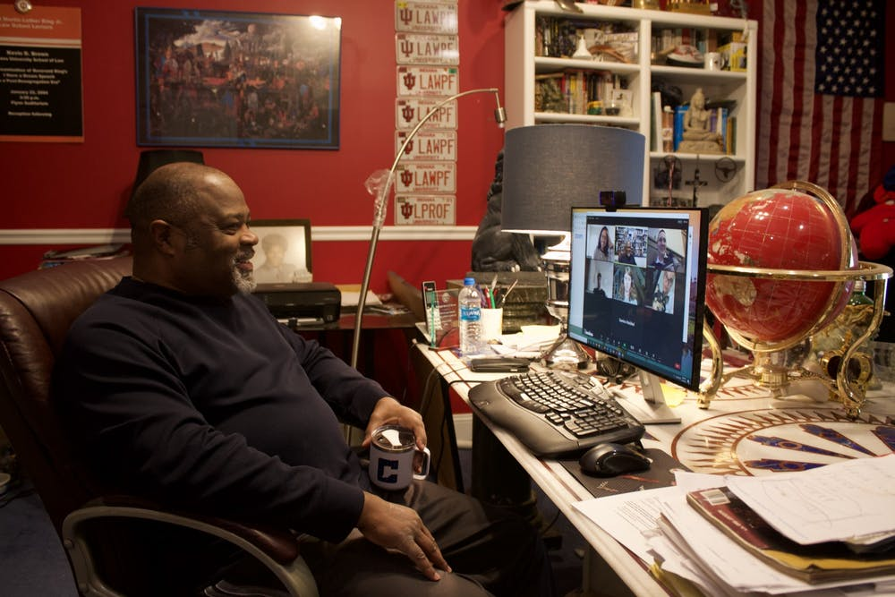 <p>Kevin D. Brown, Richard S. Melvin Professor of Law at the Maurer School of Law, chats with students on Zoom before his Race, American Society &amp; the Law class begins Wednesday. Brown was a student in the African American Diaspora Studies program at IU in the 1970s. </p>