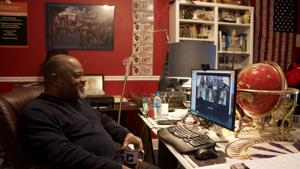 Kevin D. Brown, Richard S. Melvin Professor of Law at the Maurer School of Law, chats with students on Zoom before his Race, American Society & the Law class begins Wednesday. Brown was a student in the African American Diaspora Studies program at IU in the 1970s.
