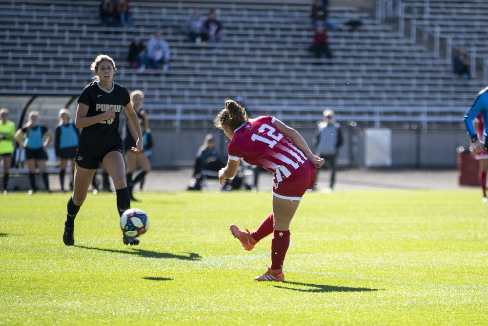 <p>Then-junior forward Melanie Forbes scores her 4th goal of the season Oct. 27, 2019, at Bill Armstrong Stadium. IU will face Northwestern on Saturday at Ryan Fieldhouse in Evanston, Illinois. </p>