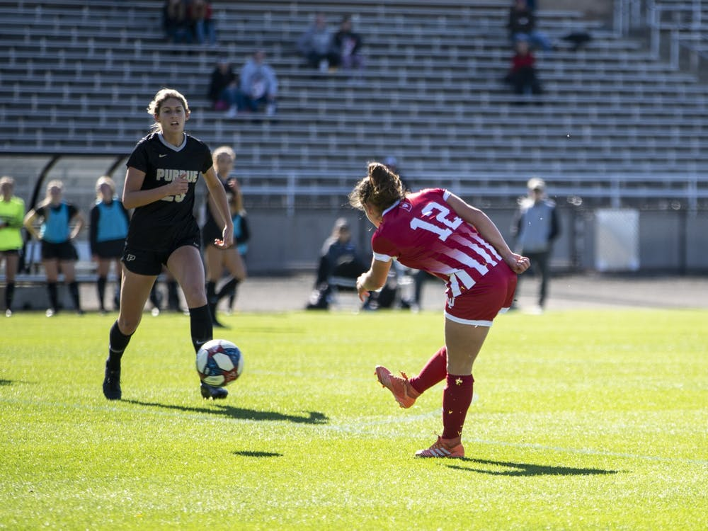 Then-junior forward Melanie Forbes scores her 4th goal of the season Oct. 27, 2019, at Bill Armstrong Stadium. IU will face Northwestern on Saturday at Ryan Fieldhouse in Evanston, Illinois.