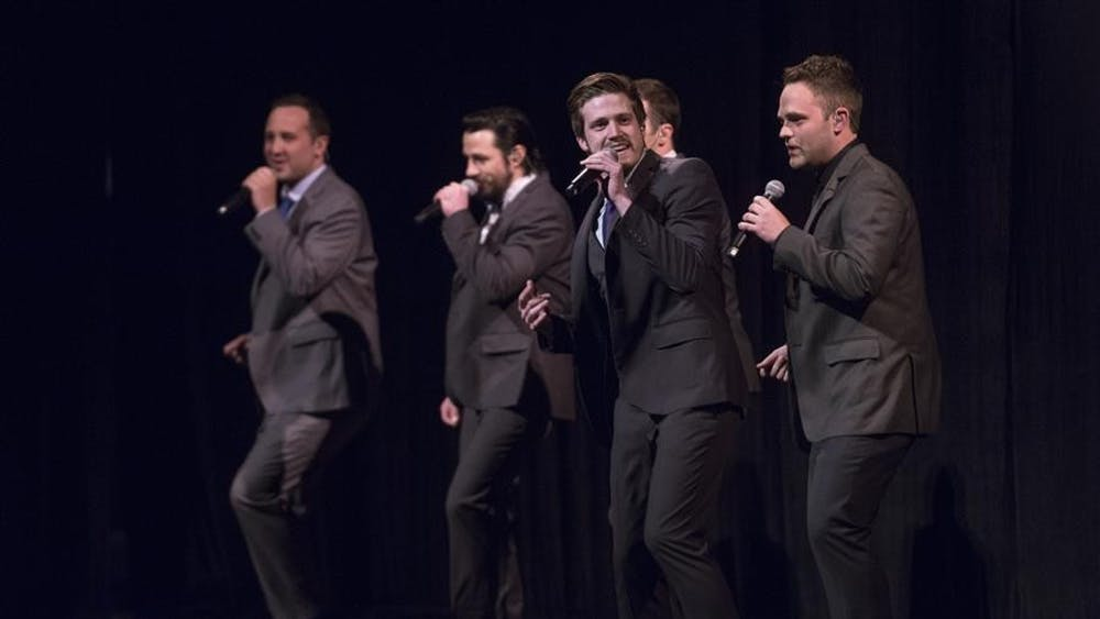 Acappella groups Under the Streetlamp and Genteman's Rule perform various styles of songs at the IU Auditorium on Thursday.