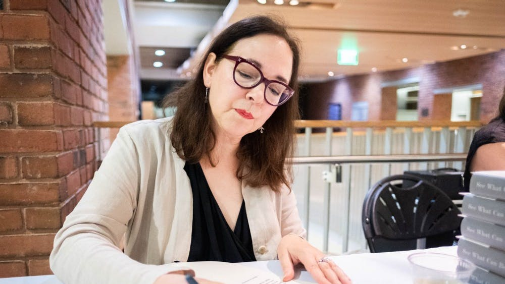 Courtesy of Songmuang Greer Lorrie Moore captivated audiences at the President's Reading Series.