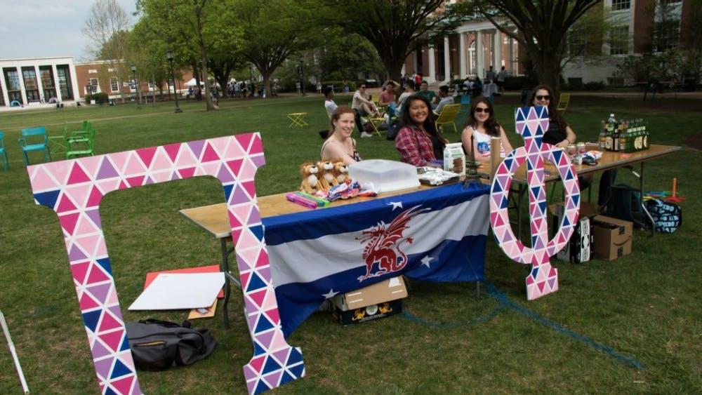 Courtesy of Kellie Hun Student groups set up booths on Keyser Quad to raise money.