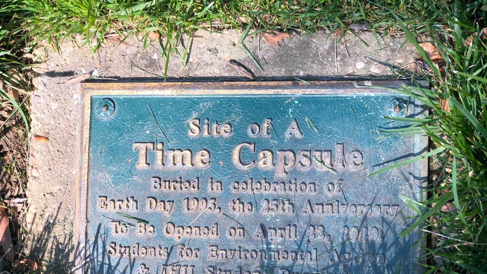 COURTESY OF RUDY MALCOM On Earth Day 1995, student groups Pugwash and SEA placed a time capsule outside MSE.