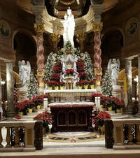 COURTESY OF RON CORBO. The alter at Our Lady of Victory Basilica in Buffalo decorated for Christmas.