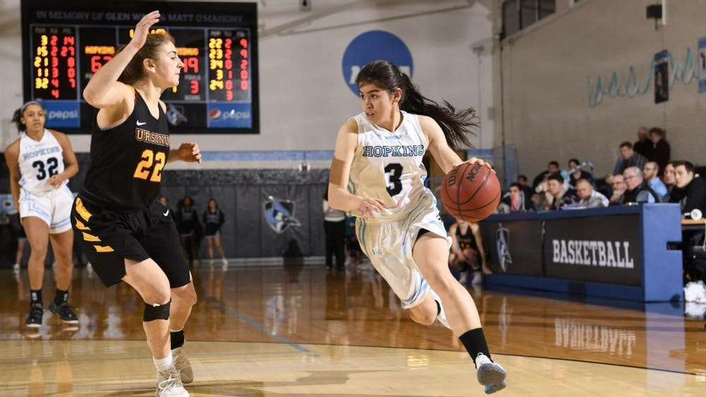 hopkinssports.com  Lexie Scholtz scored 18 points and 5 rebounds in her Senior Day game.