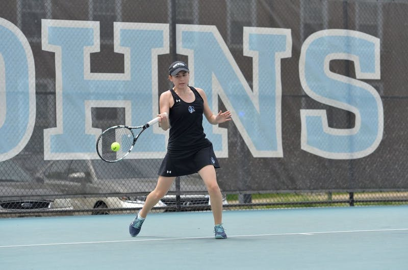 hopkinssports.com  Women's tennis swept Ursinus in their Conference matchup Saturday.