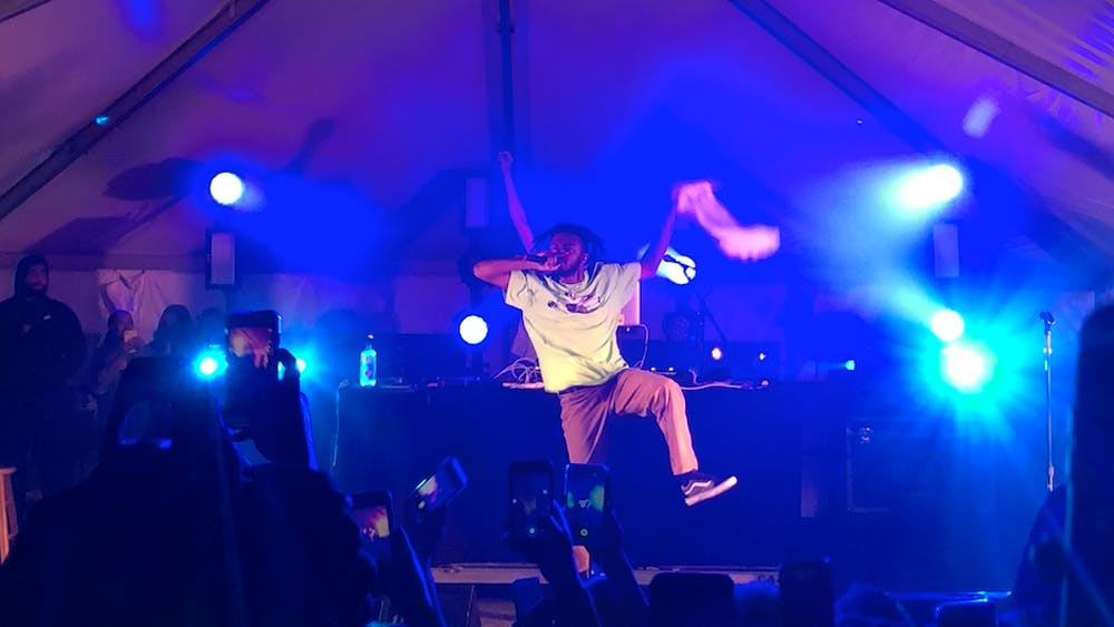 COURTESY OF RUDY MALCOM JAM, the third annual concert presented by the HOP, brought artists Aminé and Tobi Lou to Homewood Campus.