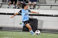 HOPKINSSPORTS.COM Senior Kristen Hori scored the game winning goal against Swarthmore.