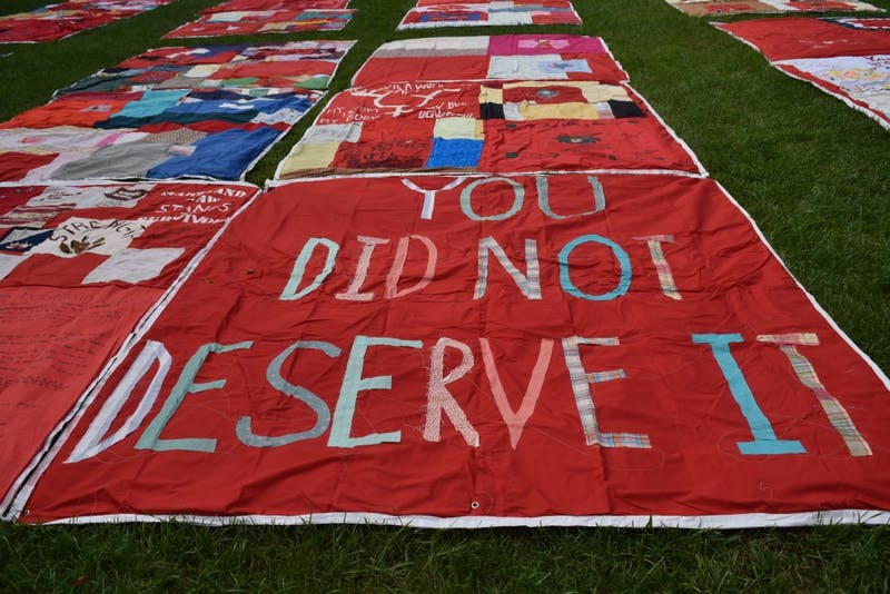 COURTESY OF ARPAN SAHOO Each Quilt square captures a different experience of sexual violence.