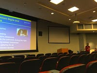 """COURTESY OF ISAAC CHEN Susheel Patil spoke about his research on sleep disorders at an event called """"Sleep 101."""""""