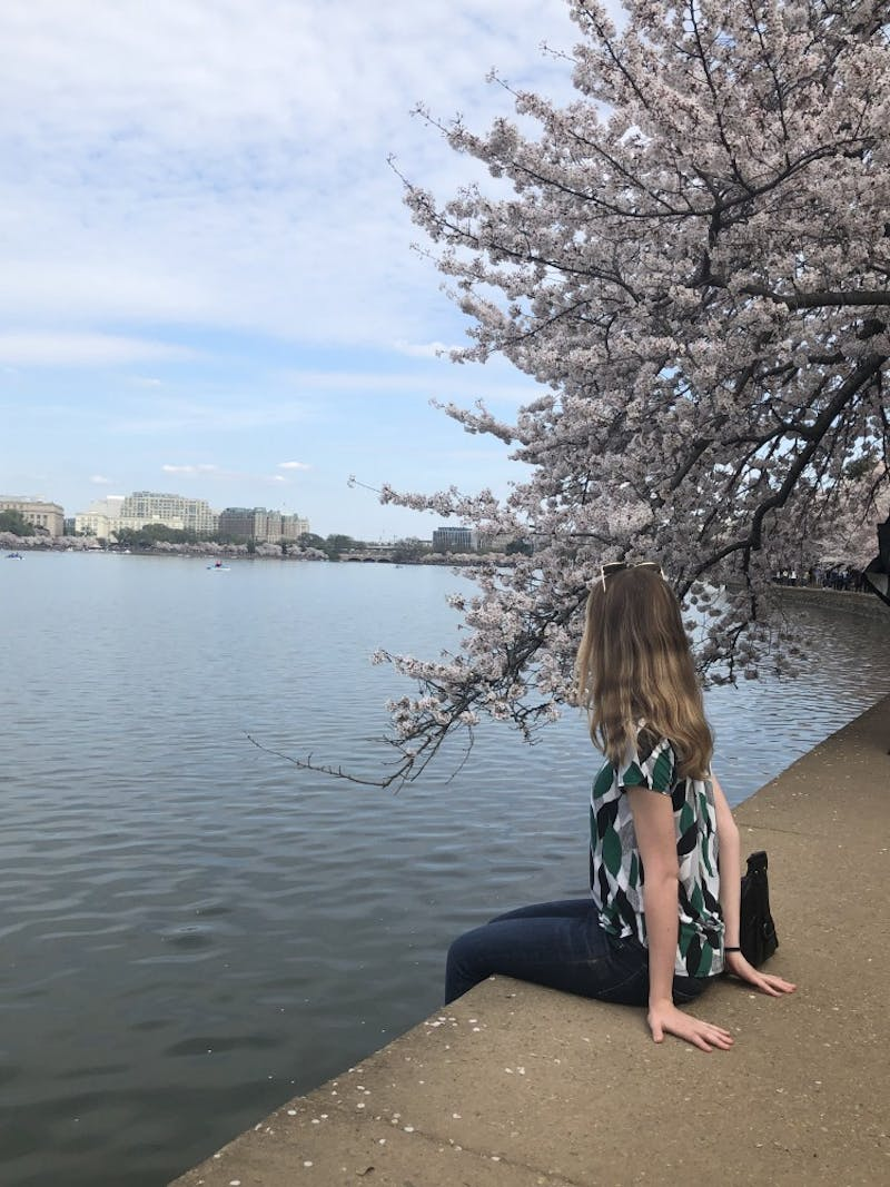 COURTESY OF EMMA SHANNON Shannon and a friend visited D.C. for the National Cherry Blossom Festival.
