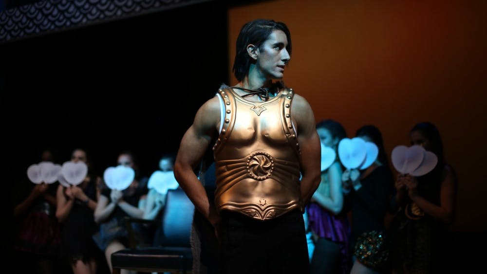 COURTESY OF CLAIRE EDMONDS Mehdi El-Hebil played Lewis in the Barnstormers production of Hirson and Schwartz's Pippin.