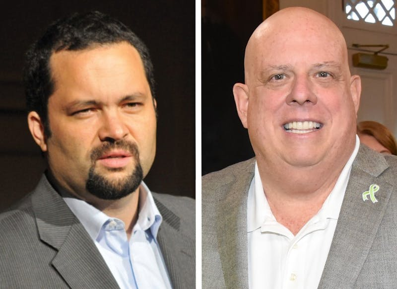 LEFT: JZHANG17/CC-BY-SA-4.0; RIGHT: MARYLAND GOVPICS/CC BY 2.0 Larry Hogan and Ben Jealous will only debate once during their campaigns.