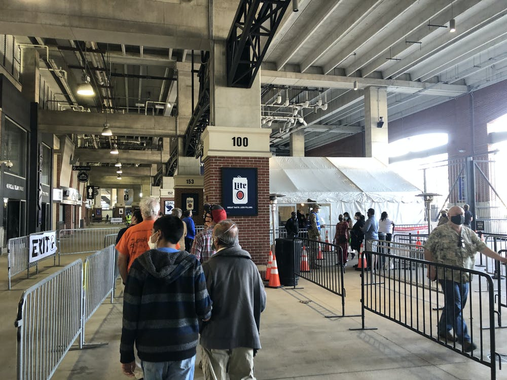 COURTESY OF CHRIS H. PARK The M&T Bank Stadium, home of the Baltimore Ravens, has become a mass vaccination site.